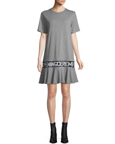 OC Elastic Logo Crewneck Short-Sleeve Cotton T-Shirt Dress
