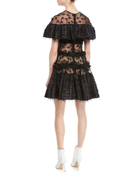 Twinkle Textured Shimmery Ruffle Popover Dress