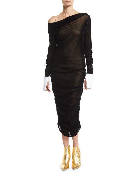 Ruched Off-Shoulder Velvet Midi Dress