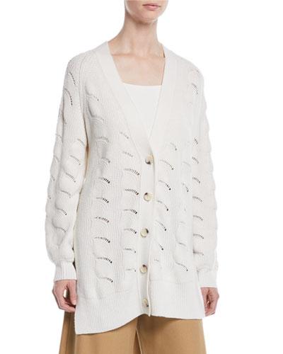Side-Slit Button-Front Cardigan