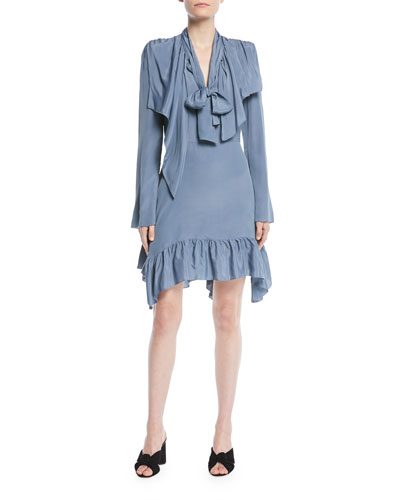 Ruffle Tie-Neck Long-Sleeve Short Dress