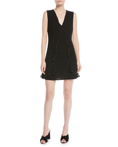 V-Neck Sleeveless A-Line Mini Dress w/ Ruffled Trim