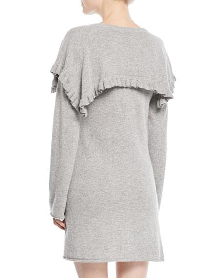 c3fbec16 Long-Sleeve Crewneck Heathered Alpaca-Blend Mini Dress w/ Ruffled Trim