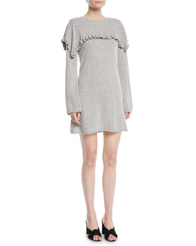 Long-Sleeve Crewneck Heathered Alpaca-Blend Mini Dress w/ Ruffled Trim