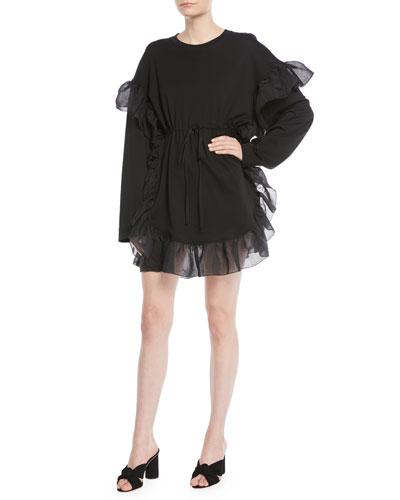 Cinched Long-Sleeve Ruffle Mini Dress