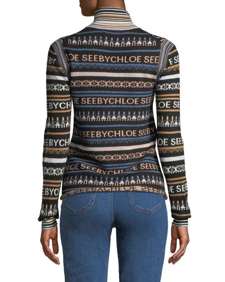 227adb523c982 See by Chloe Striped Logo Turtleneck Pullover Sweater