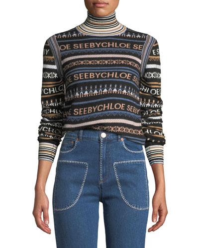Striped Logo Turtleneck Pullover Sweater