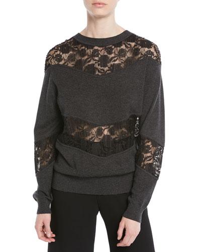 Crewneck Pullover Sweatshirt w/ Lace Inserts