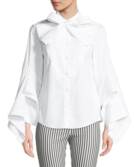 PALMER HARDING Poplin Bow-Tie Button-Front Blouse in White