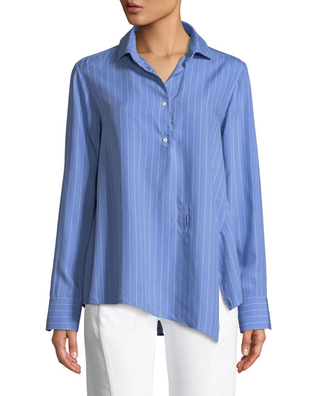PALMER/HARDING Asymmetric Striped Button-Front Shirt in Blue Pattern