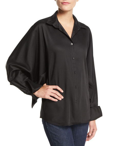 PALMER/HARDING Solo Point-Collar Twill Button-Front Shirt in Black