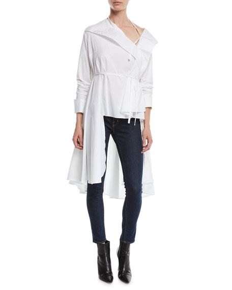 PALMER / HARDING Dusk High-Low Button-Front Top in White