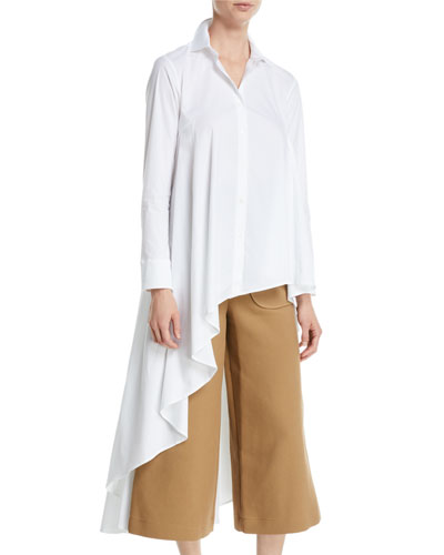 Super Button-Front Asymmetric Cotton Shirt