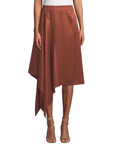 PALMER HARDING Squared Draped Asymmetric Twill Skirt in Black