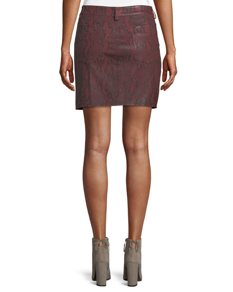Troy Snake-Print Leather Mini Skirt