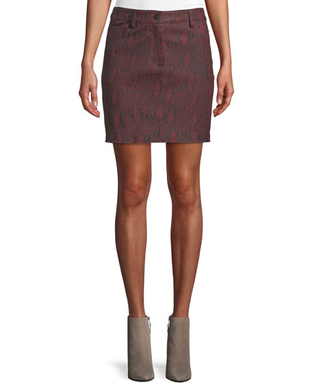 A.L.C. Troy Snake-Print Leather Mini Skirt