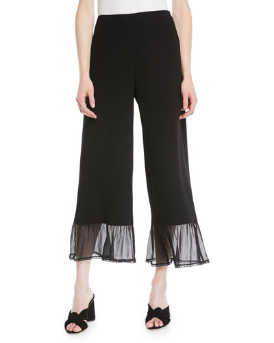 Wide-Leg Crepe Ankle Pants w/ Ruffle Bottom