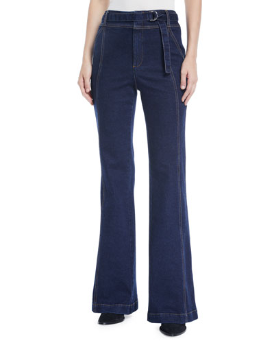 Byron High-Rise Belted Flare-Leg Jeans