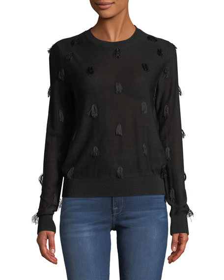 Kohino Crewneck Pullover Sweater w/ Fringe Details