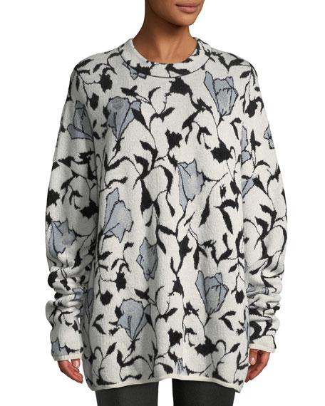 CHRISTIAN WIJNANTS Killa Crewneck Floral-Jacquard Sweater in White Pattern