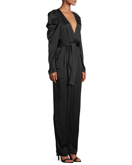 Christian Puff-Sleeve Belted Jumpsuit