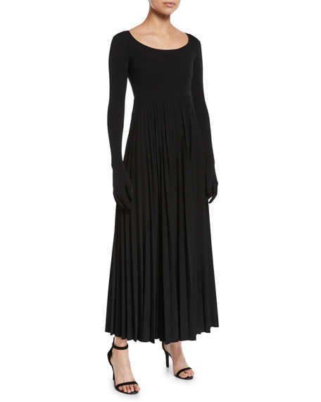 A.W.A.K.E. Scoop-Neck Pleated Long Dress With Gloves, Black