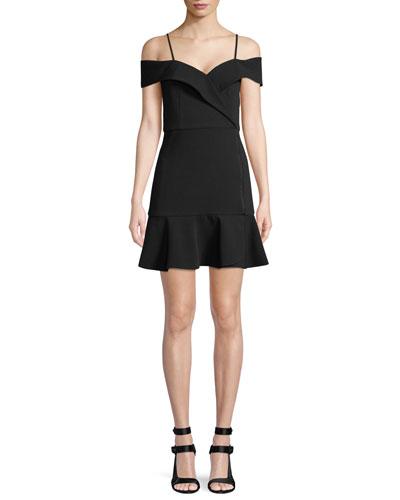 Dash Cold-Shoulder Faux-Wrap Flounce Dress