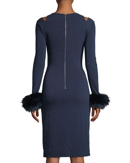 ad9340b637 Alice + Olivia Tabitha Slit-Shoulder Cocktail Dress w  Fox Fur Cuffs