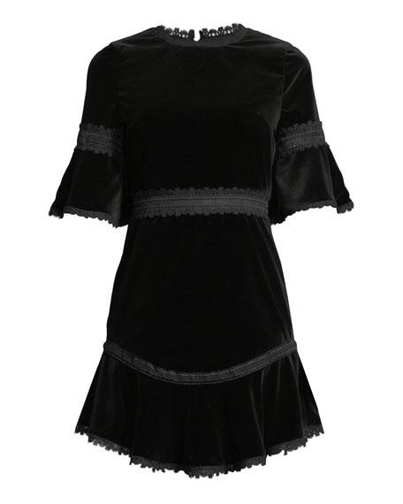 Doloris Velvet Trumpet-Sleeve Dress w/ Lace Trim