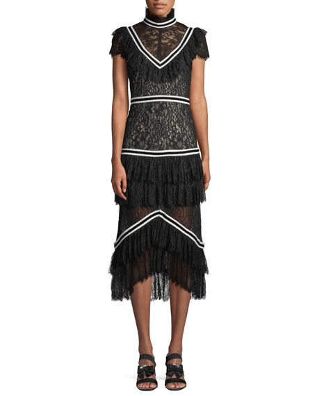 Alice + Olivia Annetta Tiered Turtleneck Lace Ruffle