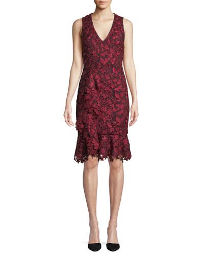 Katia Sleeveless Lace Flounce Dress