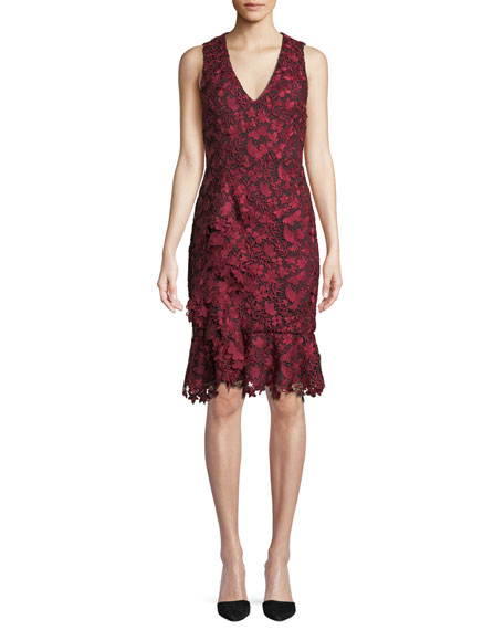 Katia Ruffled Lace Sheath Dress in Red