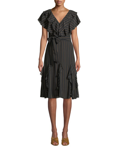 Tessa Striped Ruffle Godet Midi Dress