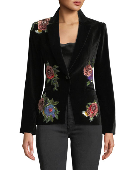 Hix Floral-Embroidered Velvet One-Button Blazer