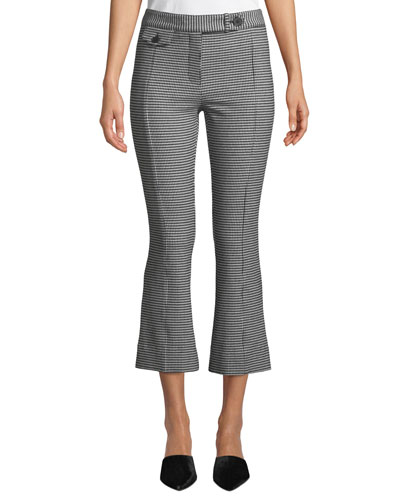 Cropped Gingham Flare Trousers