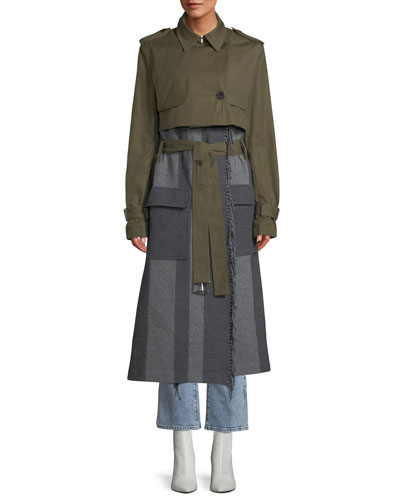 2-in-1 Trench Coat with Fringe