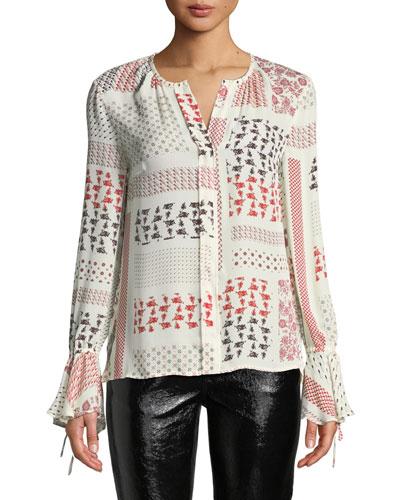 Collarless Bell-Sleeve Printed Silk Blouse