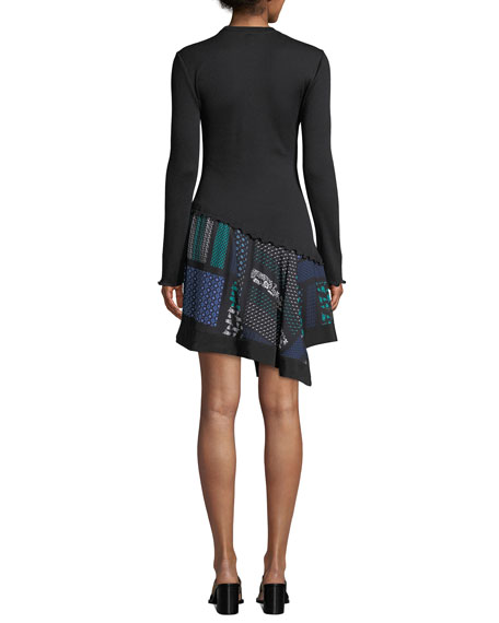 Ribbed Long-Sleeve Dress with Scarf-Print Hem