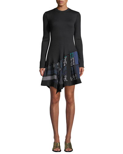 1fa8635206be9b Ribbed Long-Sleeve Dress with Scarf-Print Hem Quick Look. Derek Lam 10  Crosby