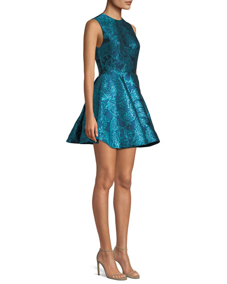 Stasia Sleeveless Fit-and-Flare Metallic Paisley-Jacquard Party Dress