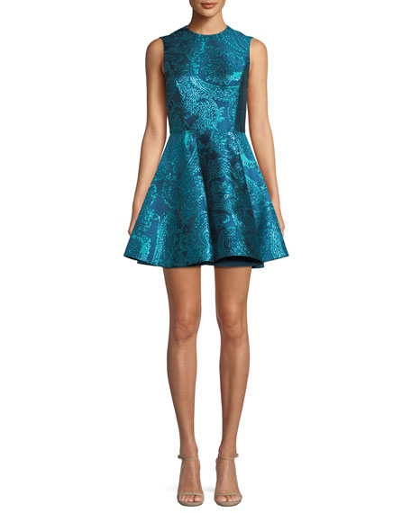 Stasia Sleeveless Fit-And-Flare Metallic Paisley-Jacquard Party Dress, Blue