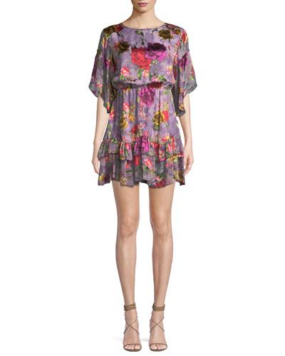 Katrina Floral-Print Bell-Sleeve Ruffle Dress