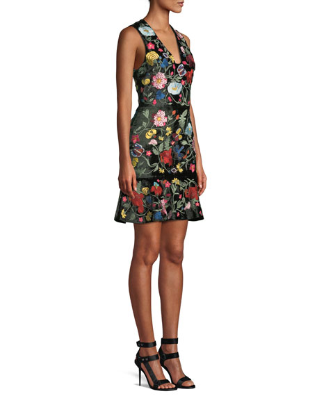 Peyton V-Neck Sleeveless Floral-Embroidered Velvet Day Dress