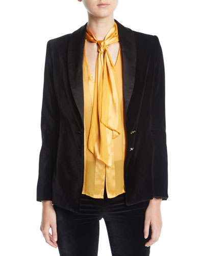 Vance Two-Button Velvet Blazer