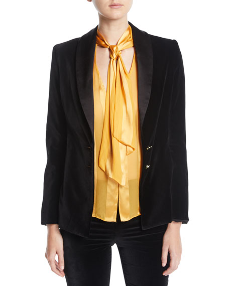Alice + Olivia Tana Velvet Blazer in Black