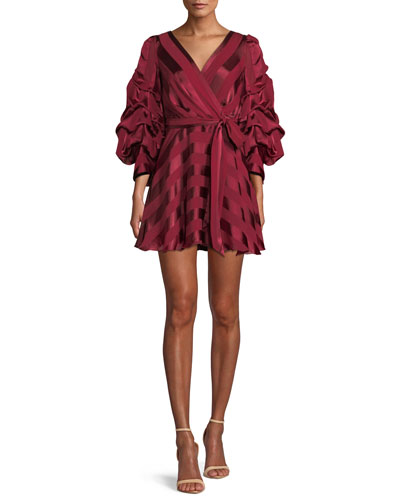 Santina Tuck-Sleeve Tie-Waist Mini Wrap Dress