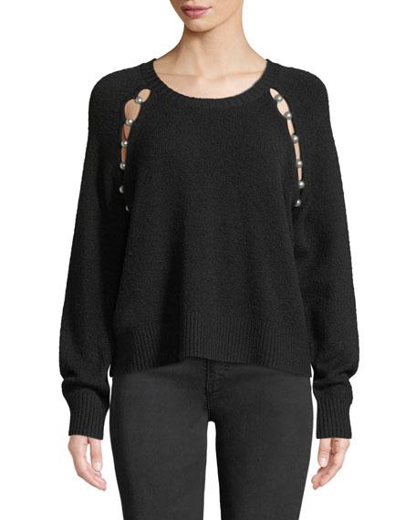 Jolynn Crewneck Raglan-Slit Wool Pullover Sweater in Black