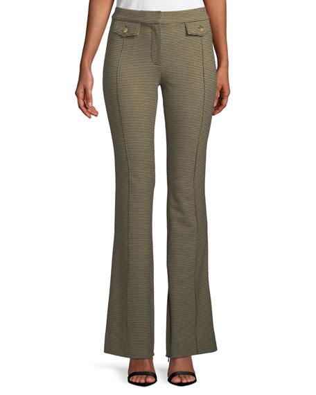 Check Flare-Leg Trousers with Flap Details