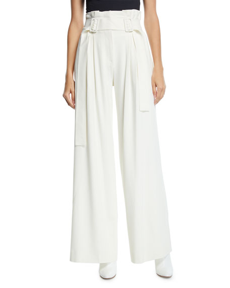 Derek Lam 10 Crosby Pleated Wide-Leg High-Rise Pants