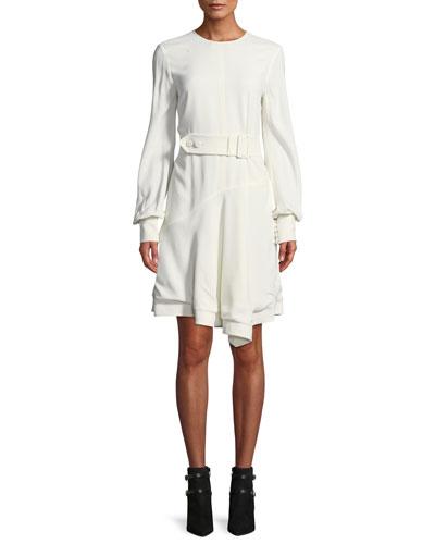Belted Long-Sleeve Asymmetrical Short Dress